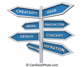 wegwijzer, creativiteit, 3d