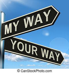 wegwijzer, het tonen, meningsverschil, of, weg, mijn, jouw,...