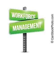 wegwijzer, management, arbeidskrachten, illustratie