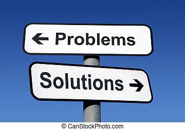wegwijzer, richtend aan, problemen, en, solutions.