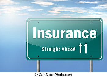 wegwijzer, verzekering, snelweg