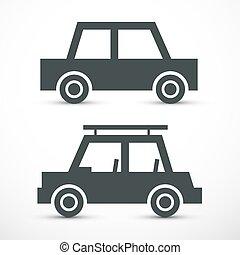 wehicles, résumé, Symbole,  Automobiles, voiture, vecteur, icône