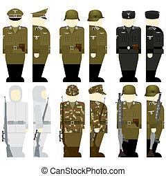 wehrmacht, temps, soldats, mondiale, 2ème, guerre