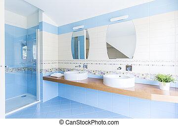 Weiß Blau, Badezimmer