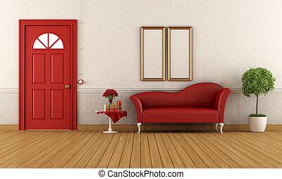 weiß rot, daheim, eingang