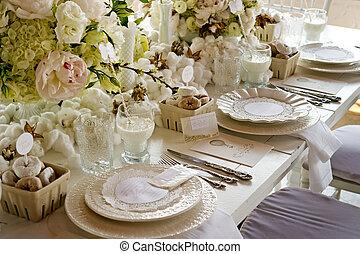 weiße hochzeit, banketttisch, mit, milch, &, krapfen