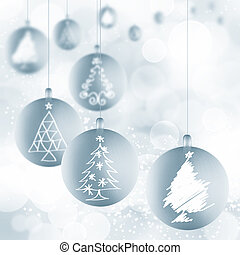 weiße kugel, bänder, christbaumkugeln