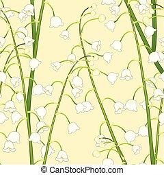 weiße lilie, von, der, tal, auf, gelber hintergrund