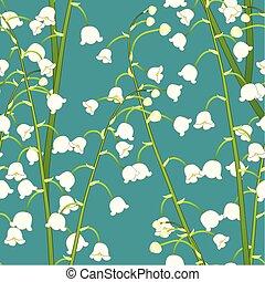 weiße lilie, von, der, tal, auf, grün, krickente, hintergrund