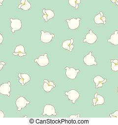 weiße lilie, von, der, tal, auf, grün, minze, hintergrund
