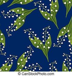 weiße lilie, von, der, tal, auf, marineblau, hintergrund.