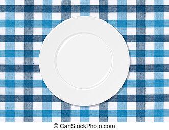 weiße platte, auf, blau weiß, tischtuch