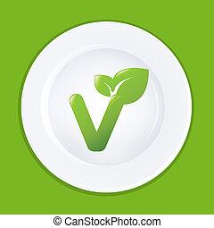 weiße platte, und, zeichen, auf, vegan