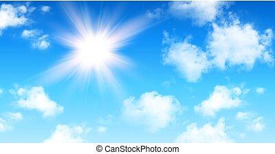 weiße wolken, kumulus, hintergrund, sonnig, himmel blau