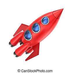 weißer hintergrund, freigestellt, rakete, rotes