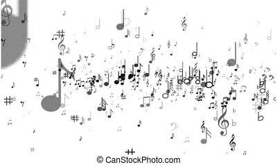 weißer hintergrund, von, musik merkt