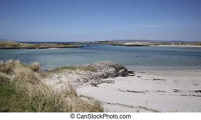 weißer sand, sandstrand, schottland, pfanne