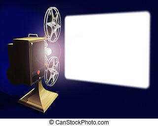 weißer schirm, film- projektor