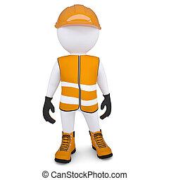 weißes, 3d, overalls, mann