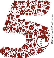 weißes, 5, zahl, hintergrund, weihnachten