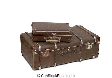 weißes, altes , freigestellt, haufen, koffer