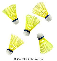 weißes, badminton, federball, freigestellt, nylon