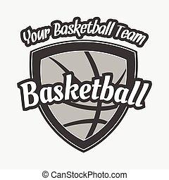 weißes, basketball, schwarze kugel, etikett
