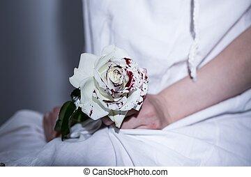 weißes, blutig, rose