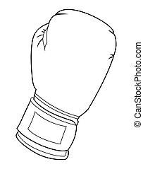 weißes, boxen, schwarz, handschuh