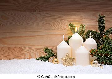 weißes, brennender, kerze, für, der, zuerst, advent.