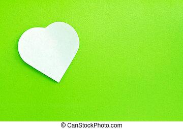 weißes, briefpapier, befestigt, auf, grüner hintergrund
