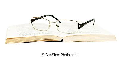 weißes, buch, hintergrund, brille