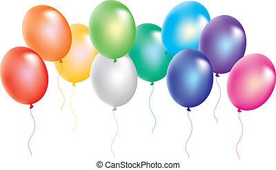 weißes, bunte, hintergrund, luftballone