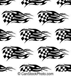 weißes, checkered, schwarz, fahne