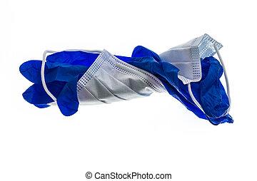weißes, chirurgisch, gebraucht, hintergrund, latex, blaues, ...