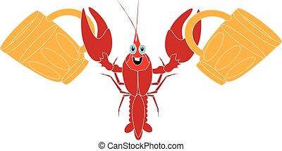 weißes, crayfish, freigestellt, hintergrund