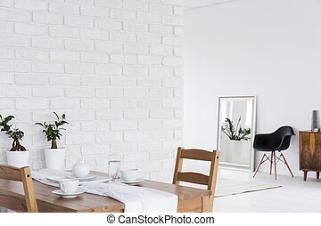 weißes, design, dachboden- raum