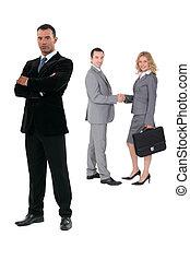 weißes, drei, hintergrund, businesspeople