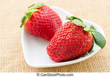weißes, erdbeeren, cup., reif, rotes