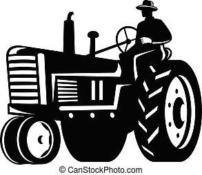 weißes, fahren, organische , schwarz, retro, traktor, landwirt, weinlese, silhouette