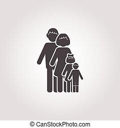 weißes, familie, hintergrund, ikone
