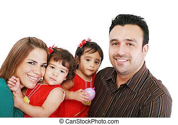 weißes, familien, kinder, hintergrund, glücklich