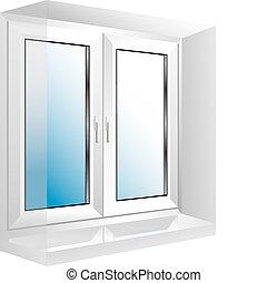 vektor clipart von wei es fenster plastik fenster gebeugt wei es plastik csp7697891. Black Bedroom Furniture Sets. Home Design Ideas