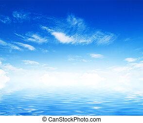 weißes, flaumig, wolkenhimmel, mit, regenbogen, in, der,...