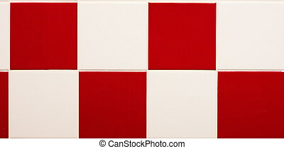weißes, fliesenmuster, rotes