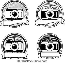weißes, fotoapperat, schwarz, briefmarken