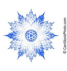 weißes, fractal, schneeflocke, hintergrund