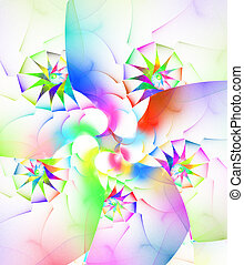 weißes, fractal, spirale, bunte
