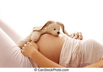 weißes, frau, hintergrund, schwanger