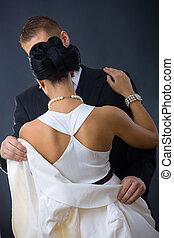 weißes, frau, kleiden